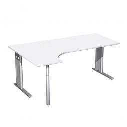 Schreibtisch PREMIUM, Schrankansatz links, Weiß/Silber, BxTxH 1800x800/1200x680-820 mm