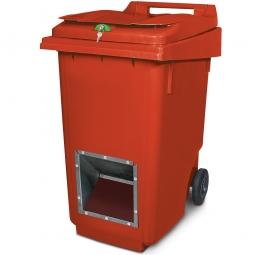 Streugutbehälter mit Entnahmeöffnung und Schließung, rot, 360 Liter, HxBxT 1100 x 600 x 875 mm