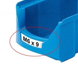 """Beschriftungs-Etiketten für Sichtbox """"Futura"""" FA 6, Farbe weiß. VE=100 Stück"""