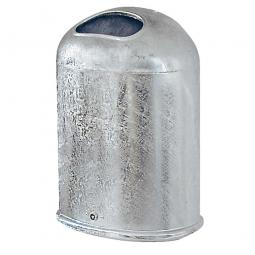 Feuerverzinkter Abfallbehälter mit Bodenklappe, 45 Liter, feuerverzinkt, BxTxH 430 x 330 x 600 mm