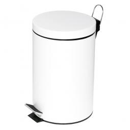 Tret-Abfalleimer, Inhalt 12 Liter, weiß, HxØ 395x255 mm, Deckelöffnung mit Pedalmechanik