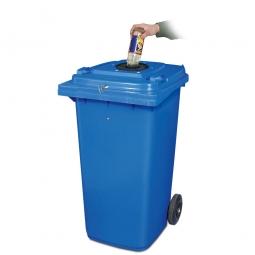 Verschließbarer Müllbehälter mit Flascheneinwurf und Gummirosette, 120 Liter, blau