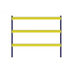 Weitspannregal mit 3 Holzbodenebenen, Stecksystem, BxTxH 2380 x 405 x 2000 mm, Tragkraft 900 kg/Ebene