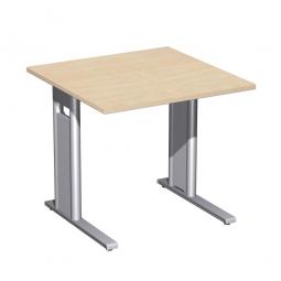 Schreibtisch PREMIUM höhenverstellbar, Quadrat, Ahorn/Silber, BxTxH 800x800x680-820 mm