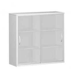 Glas-Schiebetürschrank PRO 3 Ordnerhöhen, weiß, BxHxT 1200x1152x425 mm