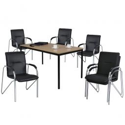 """Tischgruppe """"Komfort"""", bestehend aus: 6 Stapelsesseln und 1 Tisch"""