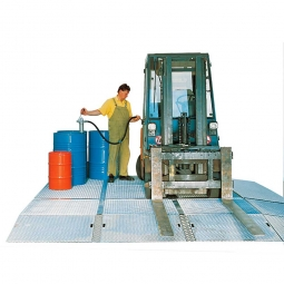 Bodenwanne, Auffangvolumen: 104 Liter, LxB 2500 x 500 mm, feuerverzinkt