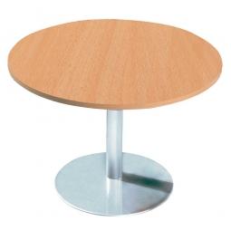 Konferenztisch mit Säulenfuß, verchromt, Platte Buche, Ø 800 mm, Höhe 720 mm