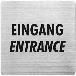 """Hinweisschild """"Eingang"""", Edelstahl, HxBxT 90x90x1 mm"""