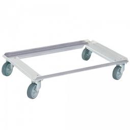 Alu-Transportroller für Isoboxen 685 x 485 mm, graue Gummiräder, Deck offen, Tragkraft 250 kg