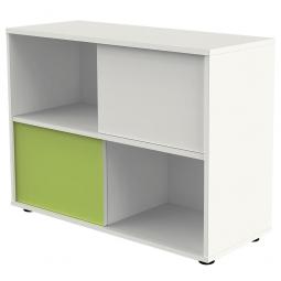 Schiebetürenschrank, 2 Ordnerhöhen, Front weiß/grün, BxTxH 1000 x 400 x 750 mm