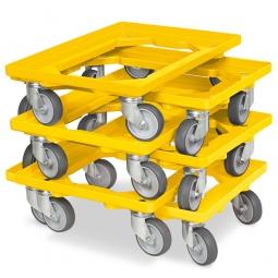 6x Transportroller im Spar-Set, Farbe gelb, für Kästen, Körbe, Kartons 600 x 400 mm