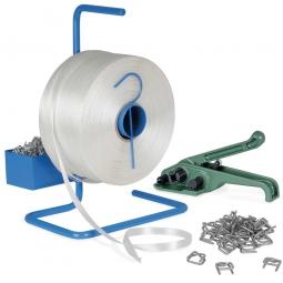 Umreifungs-Komplett-Set mit Bandspanner, 1 Rolle Polyester-Kraftband 850 m lang und 16 mm breit
