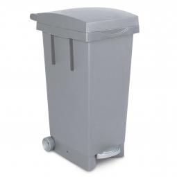 Tret-Abfallbehälter mit Rollen, BxTxH 370 x 510 x 790 mm, Inhalt 80 Liter, grau