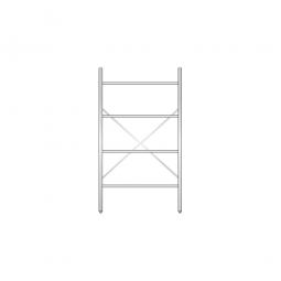 Aluminiumregal mit 4 Gitterböden, Stecksystem, BxTxH 1000 x 600 x 1800 mm, Nutztiefe 580 mm