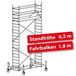 Fahrgerüst Plettac Alu Star 80 mit Fahrbalken, Arbeitshöhe 8,5 m, Gerüsthöhe 7,75 m, Standhöhe 6,5 m
