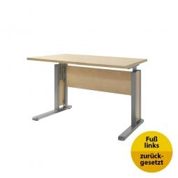 Verkettungs-Schreibtisch, Gestell silber, Platte Ahorn, BxTxH 800x800x680-820 mm
