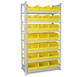Steckregal, verzinkt, HxBxT 2000 x 1000 x 515 mm, 7 Böden, 21 Sichtboxen LB 2 Farbe gelb