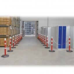 Ketten- / Warnständer Komplett-Set mit 20 Kettenständern, 38 m Kette, 1000 mm hoch, Kunststofffuß betongefüllt