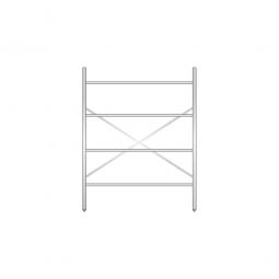 Aluminiumregal mit 4 Gitterböden, Stecksystem, BxTxH 1400 x 600 x 1800 mm, Nutztiefe 580 mm