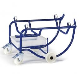 Fasskipper mit 10 l Tropfwanne und Kunststoffrollen, LxBxH 800 x 700 x 570 mm, Tragkraft 250 kg