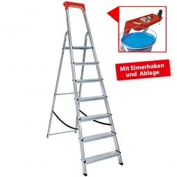Alu-Stufenleiter mit 7 Stufen, obere Ablage mit Eimerhaken, max. erreichbare Arbeitshöhe 3425 mm
