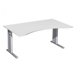 Schreibtisch PREMIUM höhenverstellbar, Lichtgrau/Silber, BxTxH 1800x800/1000x680-820 mm