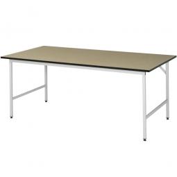 Arbeitstisch mit MDF-Tischplatte, BxTxH 2000x800x800-850 mm, Gestell lichtgrau RAL 7035
