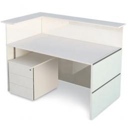 """Anbau-Theken Set """"CLASSIC"""" BxTxH 1470x920x1080 mm, weiß/Glas"""