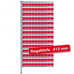Fachbodensteck-Anbauregal mit Regalkästen, HxBxT 2000x1035x415 mm