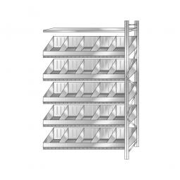 Schüttgut-Steck-Anbauregal, HxBxT 3000x1510x525 mm, Mit 5 Wannenbodenebenen, 20 Schüttfächern und 3 Fachbodenebenen
