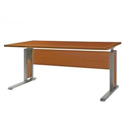 Schreibtisch mit C-Fußgestell, Farbe silber, Platte Kirsche, BxTxH 1600x800x680-820 mm