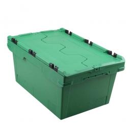 Universal Klappdeckelbox, verplompbar, LxBxH 600 x 400 x 200 mm, 29 Liter, grün