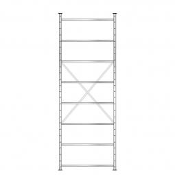 Fachbodenregal mit 8 Böden, Stecksystem, Grundregal, einseitige Ausführung, BxTxH 1070 x 315 x 3000 mm, Oberfläche glanzverzinkt