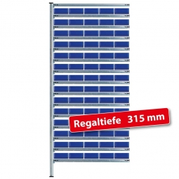 Anbauregal, verz., HxBxT 2000x1035x315 mm, 15 Ebenen, 70 Regalkästen LxBxH 300x183x81 mm, blau