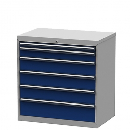 System-Schubladenschrank mit 6 Schubalden, BxTxH 900x575x920 mm, lichtgrau/enzianblau