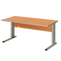 Schreibtisch mit C-Fußgestell, Farbe silber, Platte Buche, BxTxH 1600x800x680-820 mm