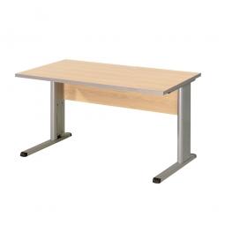 Schreibtisch mit C-Fußgestell, Farbe silber, Platte Ahorn, BxTxH 1200x800x680-820 mm