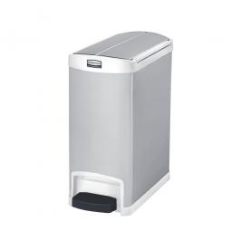 Tretabfalleimer SlimJim, 30 Liter, Edelstahl, weiß, LxBxH 550x257x588 mm, Pedal an der Schmalseite