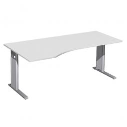 Schreibtisch PREMIUM höhenverstellbar, links, Lichtgrau/Silber, BxTxH 1800x800/1000x680-820 mm
