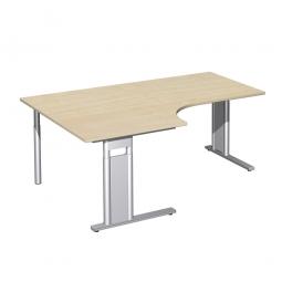 Schreibtisch PREMIUM, Tischansatz links, Ahorn/Silber, BxTxH 1800x800/1200x680-820 mm