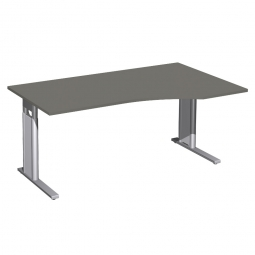 Schreibtisch PREMIUM höhenverstellbar, rechts, Graphit/Silber, BxTxH 1600x800/1000x680-820 mm