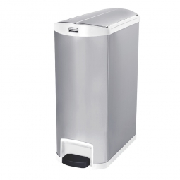 Tretabfalleimer SlimJim, 90 Liter, Edelstahl, weiß, LxBxH 690x333x835 mm, Pedal an der Schmalseite
