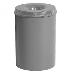 Sicherheits-Papierkorb, Inhalt 15 Liter, silber, HxØ 360x255 mm, Stahlblech, Einwurföffnung Ø 110 mm