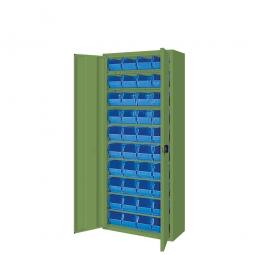 Schrank mit Sichtboxen, mit Türen, HxBxT 1690x700x300 mm, resedagrün RAL 6011