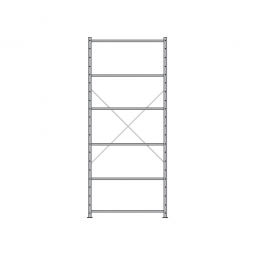 Fachbodenregal Economy mit 6 Böden, Stecksystem, BxTxH 1060 x 335 x 2500 mm, Tragkraft 330 kg/Boden, kunststoffbeschichtet