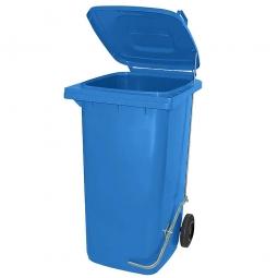 Müllbehälter, 120 Liter, blau, mit Fußpedal, HxBxT 930x480x550 mm, Niederdruck-Polyethylen (PE-HD)