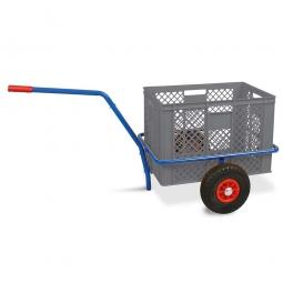Handwagen mit Kunststoffkorb, H 410 mm, grau, LxBxH 1250 x 640 x 660 mm, Tragkraft 200 kg