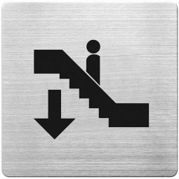 """Hinweisschild """"Rolltreppe abwärts"""", Edelstahl, HxBxT 90 x 90 x 1 mm"""