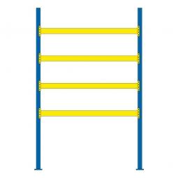 Palettenregal für 15 Europaletten, Tragbalkenebenen mit 38 mm Spanplattenböden, Fachlast 1800 kg/Tragbalkenpaar, BxTxH 2925x1100x 4500 mm
